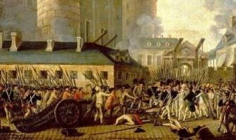 Stormingen av Bastillen og arrestasjonen av Guvernør M. de Launay, 14. juli 1789. Ingen opphavsrett grunnet alder.