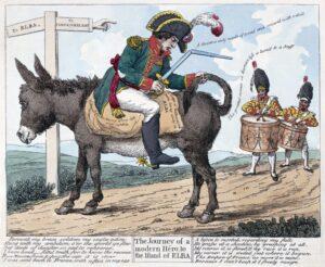 Britisk karikatur over Napoleon på vei til Elba