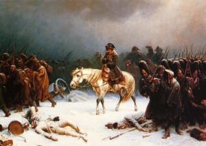 Av over en halv million mann overlevde bare en tiendedel felttoget inn i Russland i 1812. Maleri av Adolph Northen (1828–1876) Ingen opphavsrett grunnet alder.