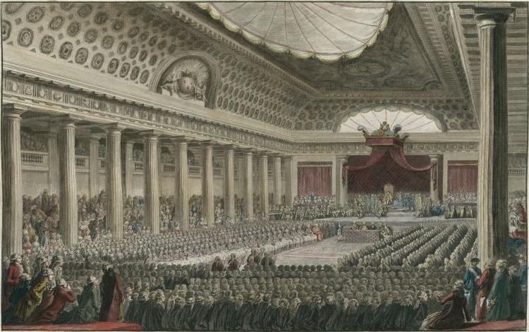 Stenderforsamlingen møttes i den store salen i Versailles-palasset den 5. mai 1789. Maleri av J.M. Moreau Le Jeune, Bibliotheque nationale de France, ingen opphavsrett grunnet alder.