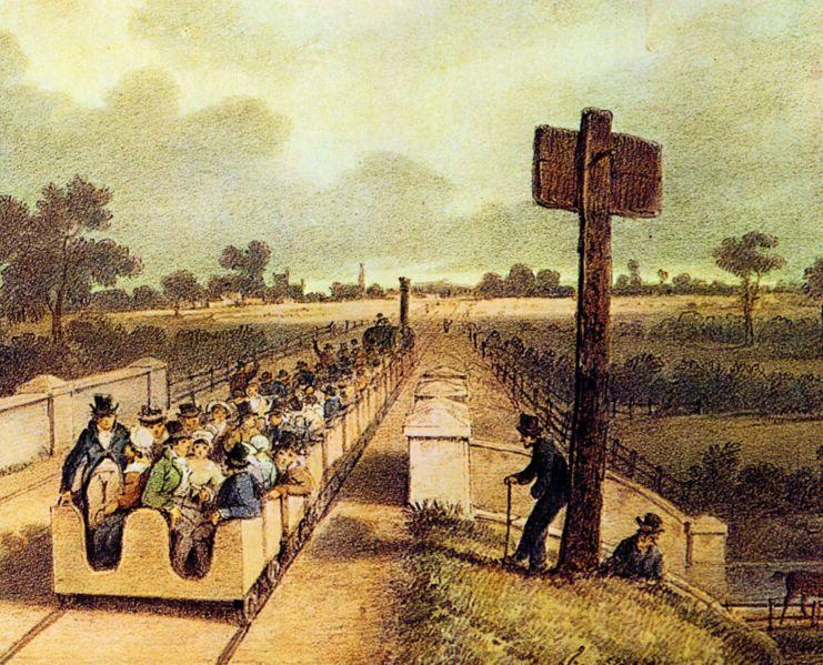 Jomfruturen på den første intercity-strekningen i historien, mellom Liverpool og Manchester den 15. september 1830. Maling av A.B. Clayton ca 1830