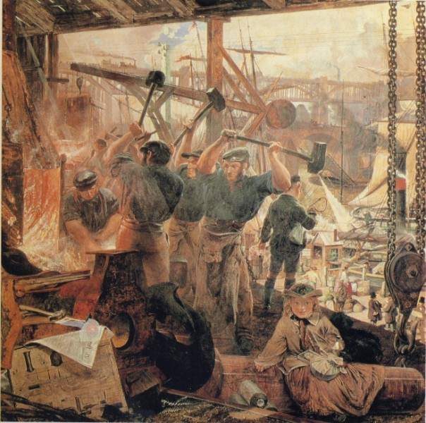 Iron and Coal malt ca 1855 av William Bell Scott. Maleriet er resultatet av et besøk Bell Scott gjorde til ingeniøren Stephensons lokomotivverksted. Selve bildet er en blanding av forskjellige industrier med et lokomotivhjul, en kanon med granater, kjerrer fulle av kull og et tog som krysser en jernbanebro. Ingen opphavsrett grunnet alder.