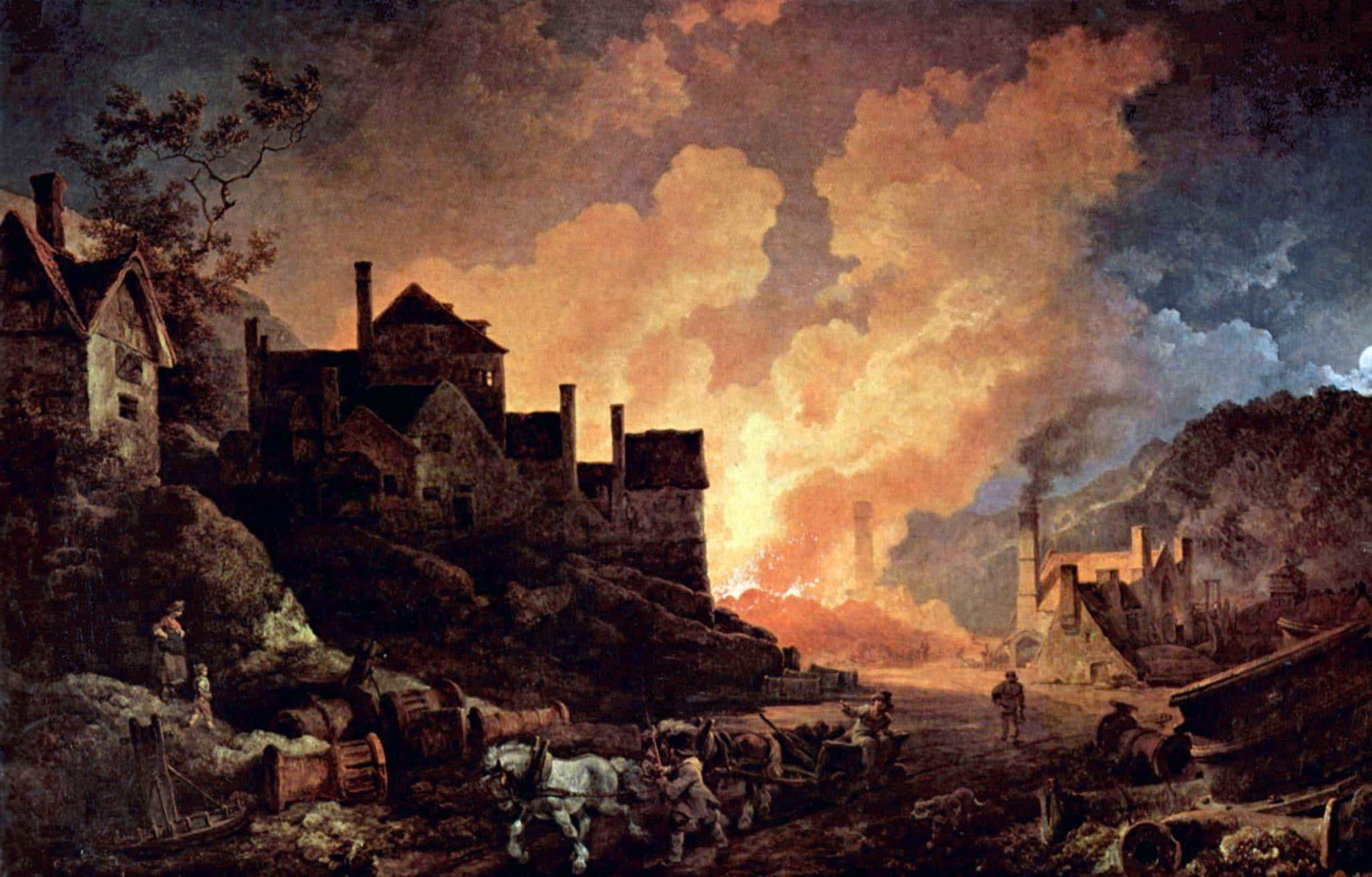 Coalbrookdale by Night er et maleri fra 1801 som på mange måter symboliserer starten på den industrielle revolusjon i England. Maleri av Philip James de Loutherbourg.