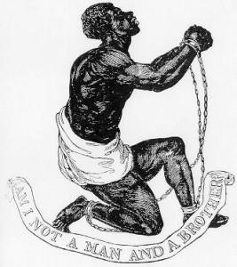 """Wedgwood var også en aktiv motstander av slaveriet. Hans medaljonger med motstandsmotiver ble en egen mote på 1780-tallet. Denne viser en slave i kjetting med teksten """"Am I not a man and a Brother?""""."""