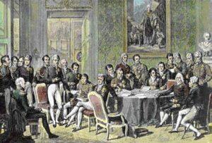 Wienerkongressen: Da napoleonskrigene endelig var over møttes alle de involverte landene til fredssamtaler i Østerrikes hovedstad, Wien.  Maleri av Jean Baptist Isabey, ca 1819