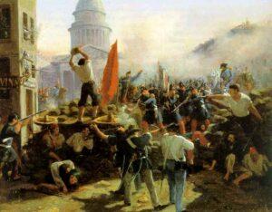 Gatene i Paris barrikaderes i februar 1848. Maleri av Horace Vernet. Ingen opphavsrett grunnet alder.