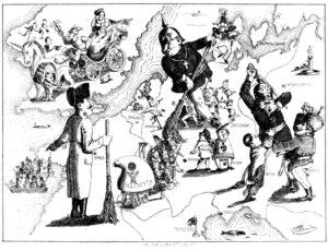 Karikatur som illustrerer de mislykkede europeiske revolusjonene i 1848 av Ferdinand Schröder 1849, ingen opphavsrett grunnet alder.