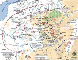 Schlieffen-planen fra 1905. Wikimedia Commons