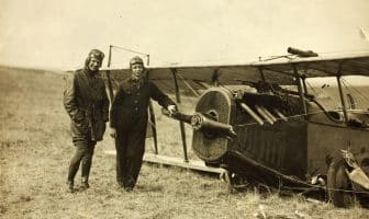 Curtiss JN-4H by synchronizer failure