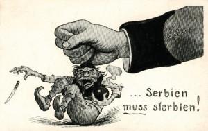 """""""Serbia må dø"""" - en østerisk propagandategning som viser en østerisk hånd som knuser en serbisk terrorist. Utgitt like etter attentatet mot Franz Ferdinand. Ukjent kunstner - wikimedia commons."""