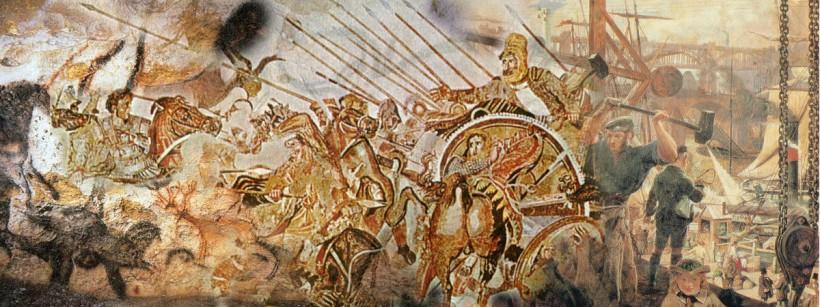 Periodisering illustrert med hulemalerier, Aleksander den store og maleri som viser jernets og kullets rolle i den industrielle revolusjon.