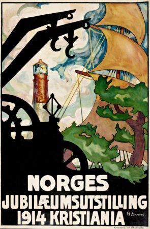 Plakat fra Jubileumsutstillingen for grunnloven i 1914 hvor Norges historie, kunst og kultur ble vist frem i Frognerparken. Totalt hadde utstillingen 1,5 millioner besøkende. Bilde: Brynjulf Larsson, Nasjonalbiblioteket