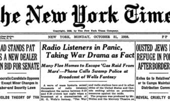 War of the Worlds omtalt i The New York Times dagen etter. Bilde: Wikimedia Commons, fair use