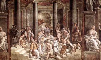Dåpen av Konstantin den store av studenter av renessansekunstneren Raphael